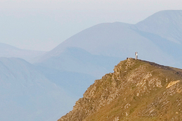 people on the summit of Gategill Fell from Blencathra