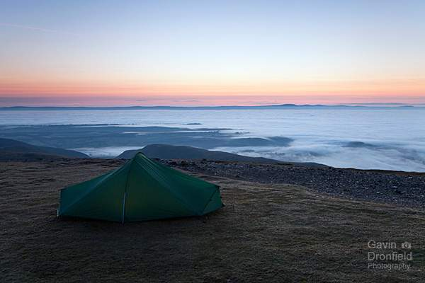 Terra Nova Laser Competition tent on Blencathra at dawn