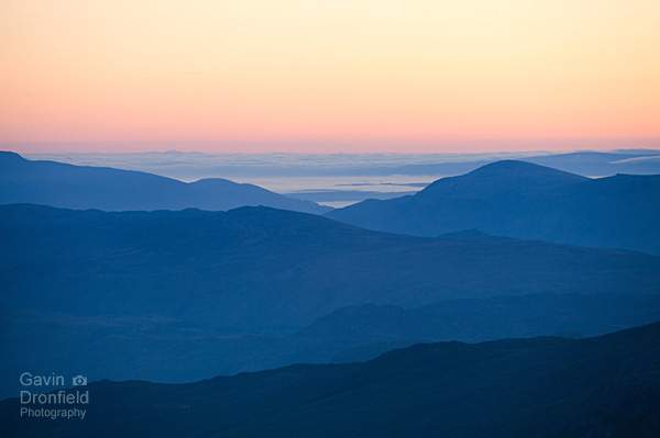 blue Lake District hills before dawn from Great End