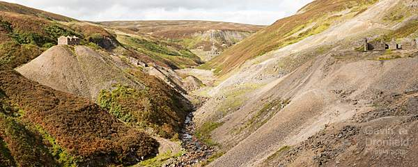 Gunnerside Beck flows through Bunton Hush and Bunton Mine summer panorama