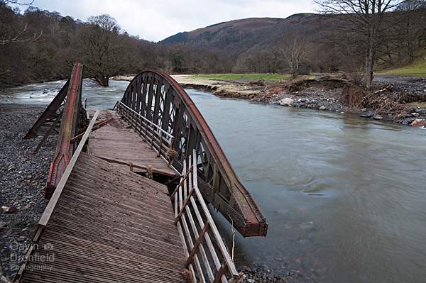 broken bridge on River Greta after Storm Desmond