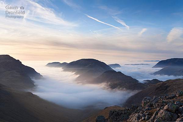 Foggy Ennerdale and Buttermere from Green Gable at sunset