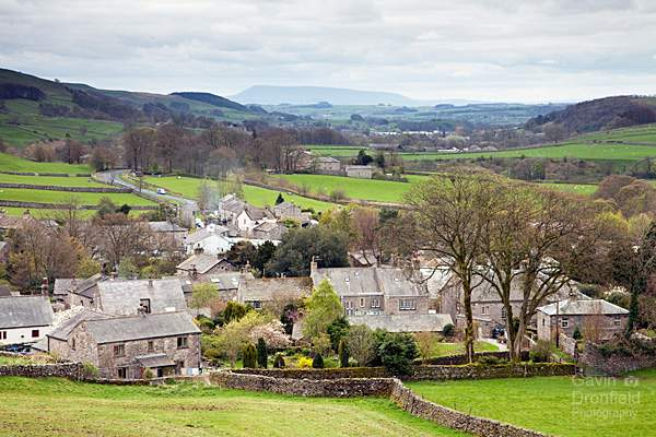 Stainforth village and Pendle Hill in spring