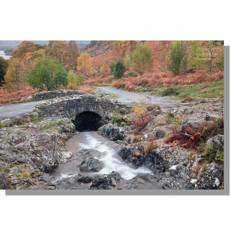 Ashness Bridge over Barrow Beck in autumn
