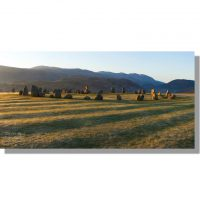 Castlerigg panorama of stone circle at dawn
