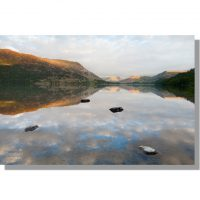 sunset over Ullswater from Glencoyne Bay with cloud reflections
