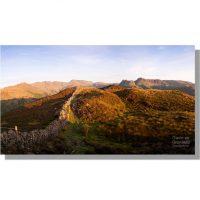 Langdale fells panorama in august from Lingmoor Fell
