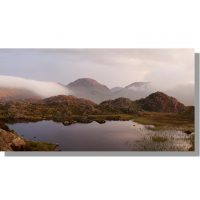 Innominate Tarn and Great Gable stormy sunset