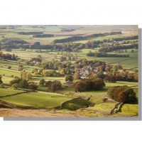 Cracoe village from Cracoe Fell in autumnal Wharfedale