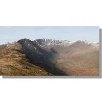 fairfield horseshoe panorama: snowy great rigg, fairfield and hart crag above rydal beck