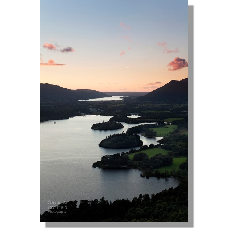 Falcon Crag view of Derwent Water and Bassenthwaite Lake during orange sunset