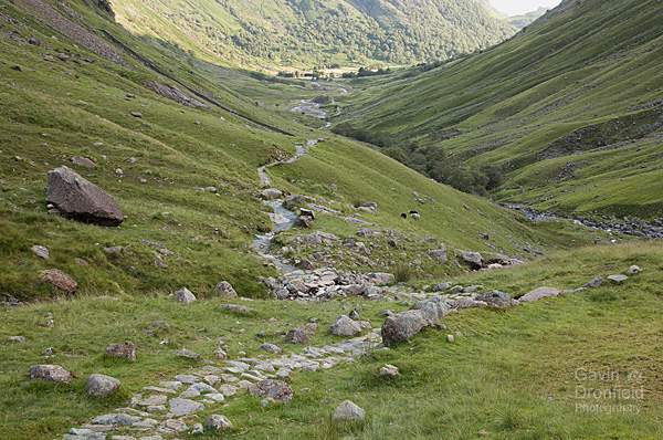 footpath down green valley of grains alongside grains gill beck