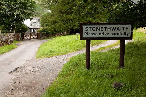 stonethwaite village sign on road into the hamlet