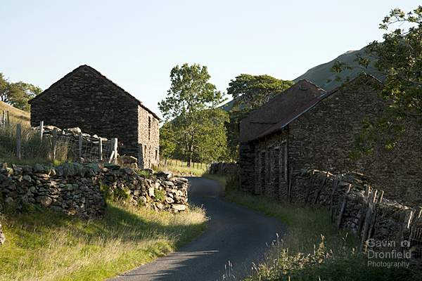 martindale country lane lined by dry stone walls weaving between old barns in summer