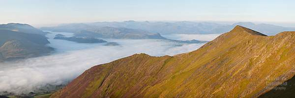 Gategill Fell dawn panorama above misty Glenderaterra valley