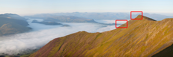Gategill Fell dawn panorama above misty Glenderaterra valley with boxes