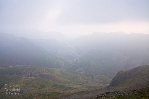 newlands valley under thick grey cloud from dale head summit