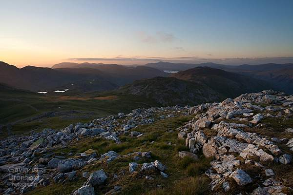 sunset view from esk pike out over allen crags, glaramara and sprinkling tarn