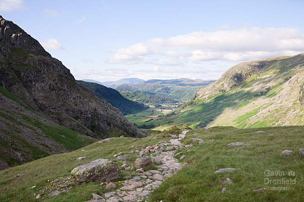 borrowdale valley from the footpath heading up to styhead pass