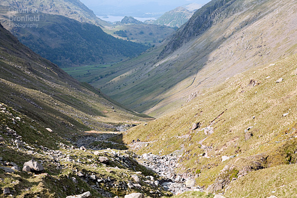 Grains Gill sweeps down towards Borrowdale and Castle Crag in summer