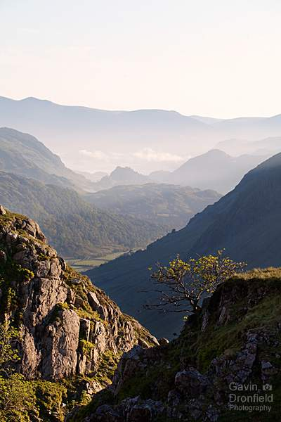 Ruddy Gill view of Castle Crag and Kings How