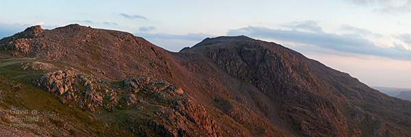 Broad Crag and Scafell Pike turn red at sunset