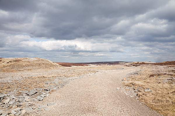 track running over the devastated lead-mined landscape of melbecks moor