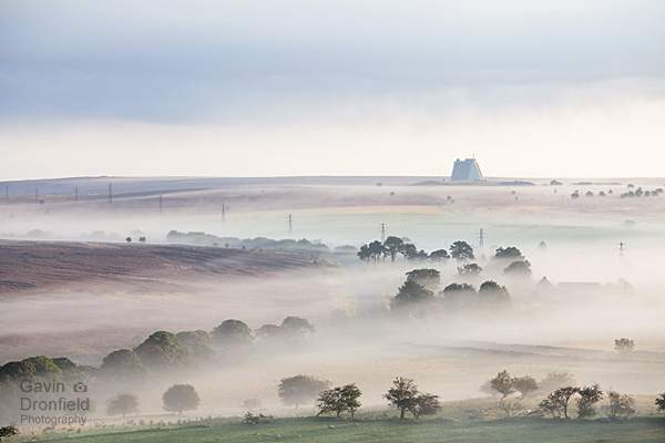 RAF fylingdales on an atmospheric autumnal misty lockton high moor at dawn