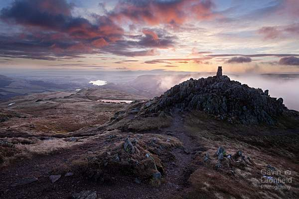 multi coloured dawn from Place Fell summit
