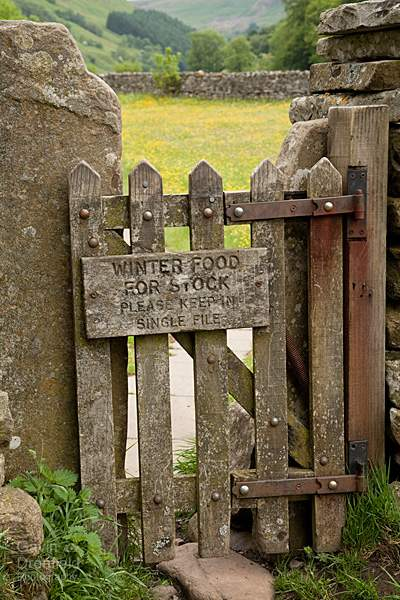 wooden gate into muker's meadows: Keep To Path