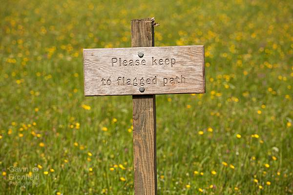 Muker meadow sign: Keep To Path
