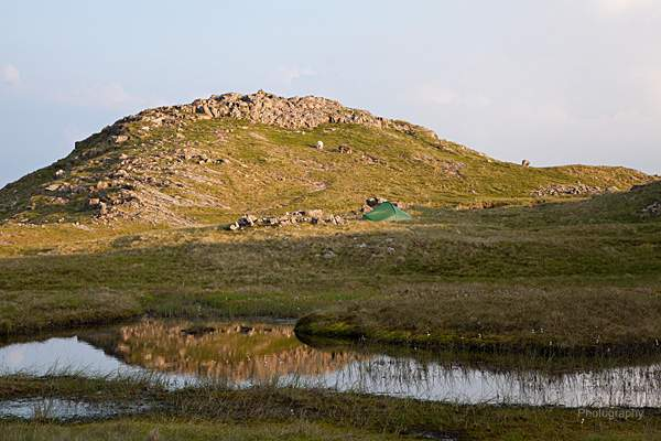 terra nova competition tent pitched next to sergeant man crag and tarn