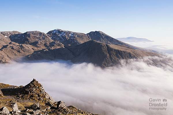 misty Wastwater from Westmoreland Cairn on Great Gable