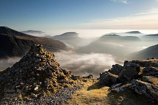 wast water in misty wasdale from westmorland cairn on great gable under azure skies