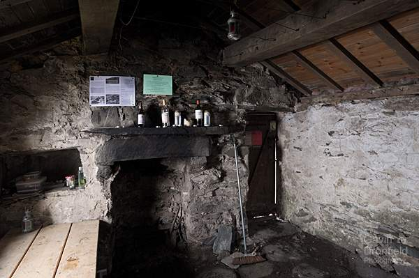 Warnscale Bothy interior fireplace