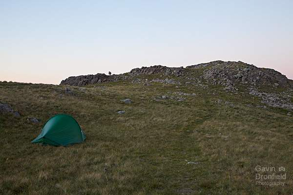 My tent pitched under the summit crag of Great Knott
