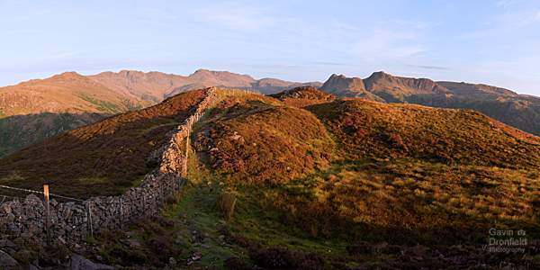 Langdale fells panorama in august from Lingmoor Fell