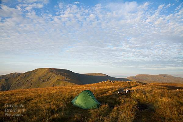 Terra Nova Laser Competition tent pitched on Rampsgill head at bright dawn