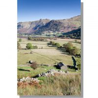 Angletarn Pikes across Hartsop Valley in autumn sunshine