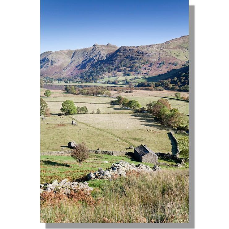 Angletarn Pikes across Hartsop Valley in autumn sunshine