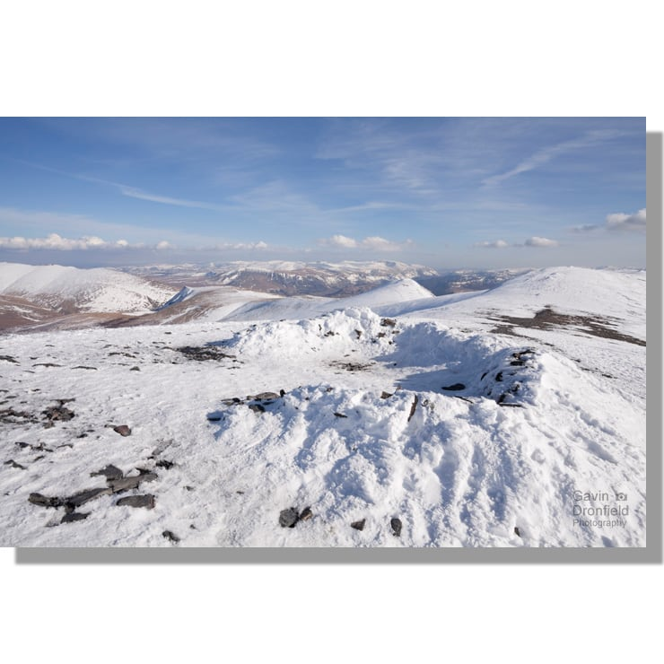 Skiddaw snowy summit shelter view