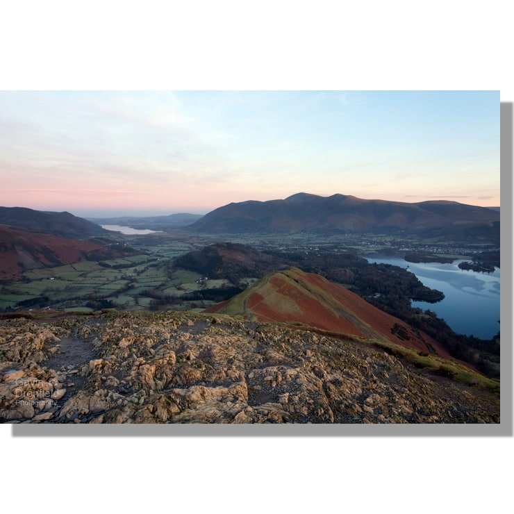 Skiddaw from Catbells during pastel coloured dawn