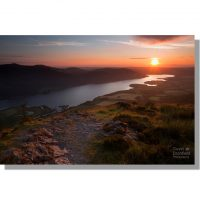 Colourful sunset over Bassenthwaite Lake from Dodd summit
