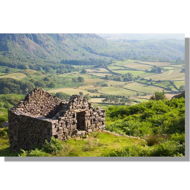 Eskdale fields from derelict mining hut in summer