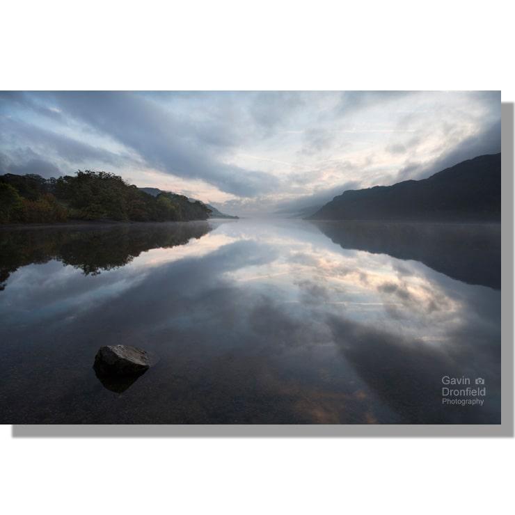 monotone Ullswater dawn reflections at Glencoyne Bay