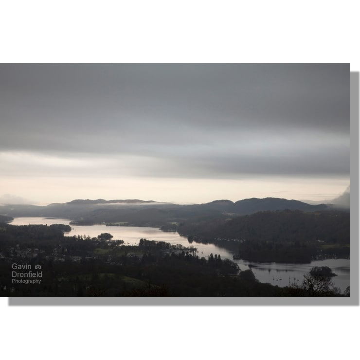 moody Lake Windermere from Orrest Head at dawn