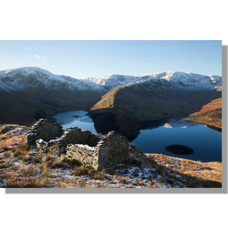 winter dawn over Haweswater and High Street from Corpse Road
