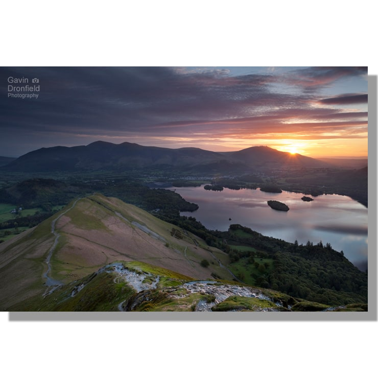 Skiddaw Blencathra and Derwentwater from Catbells at sunrise