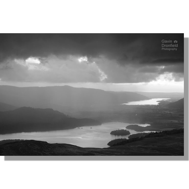 Stormy monochrome Derwent Water sunset from Bleaberry Fell