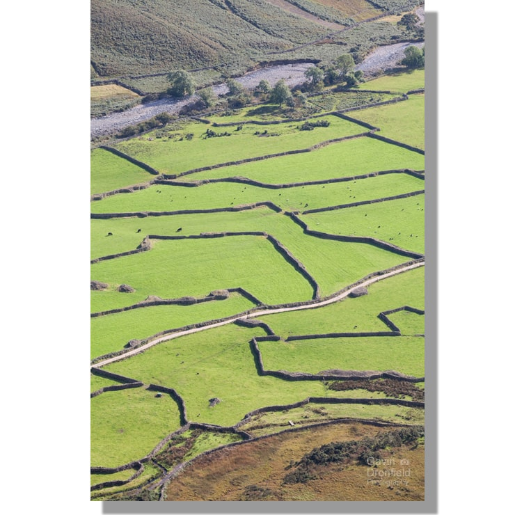 Field patterns at Wasdale Head from Kirk Fell